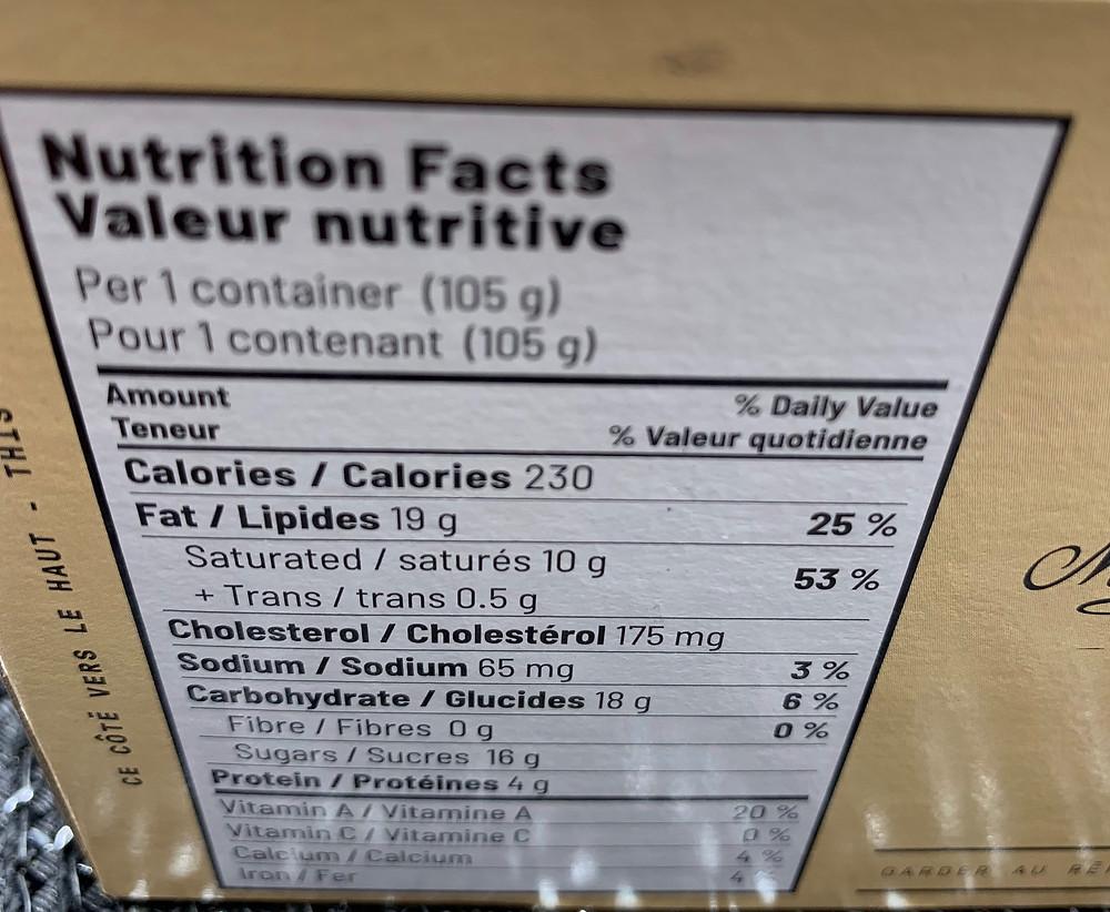 Costco Marie Morin Crème Brûlée Nutrition