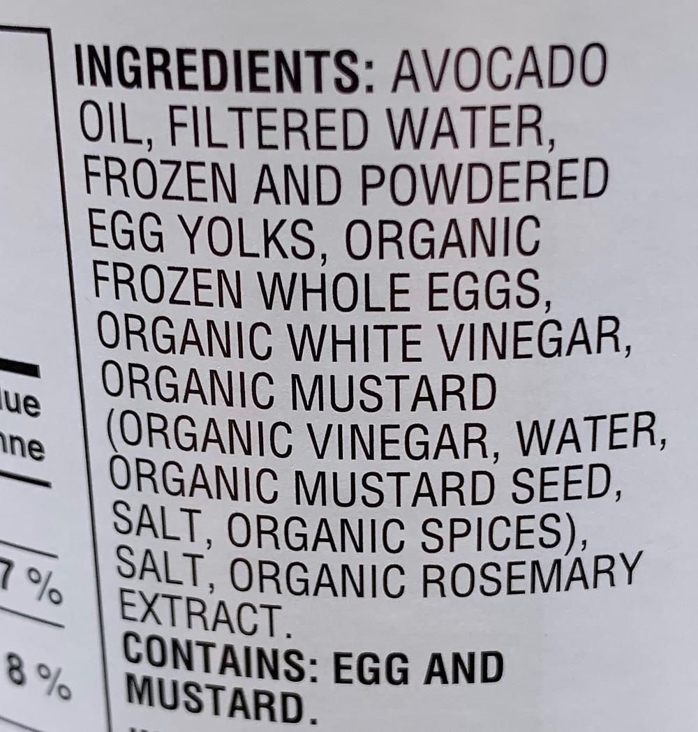 Costco Chosen Foods Avocado Mayonnaise Ingredients