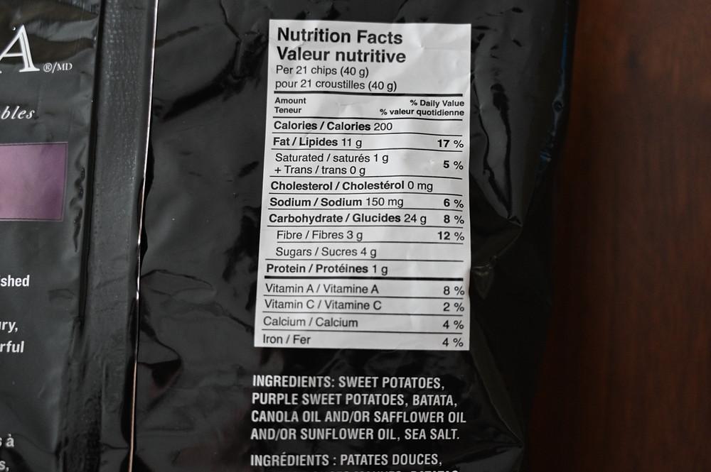 Costco Terra Chips Nutrition & Ingredients