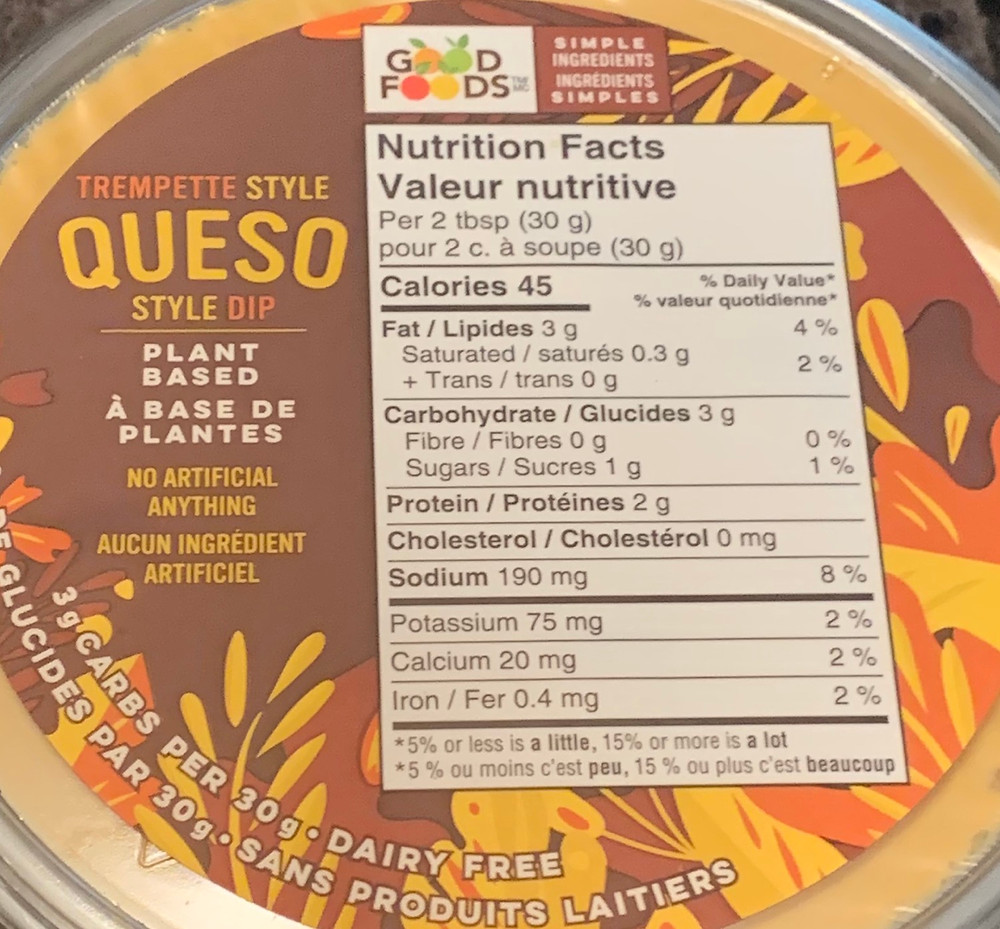Good Foods Plant Based Queso Style Dip Nutrition