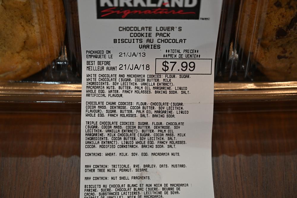 Costco Kirkland Signature Chocolate Lover's Cookie Pack Ingredients