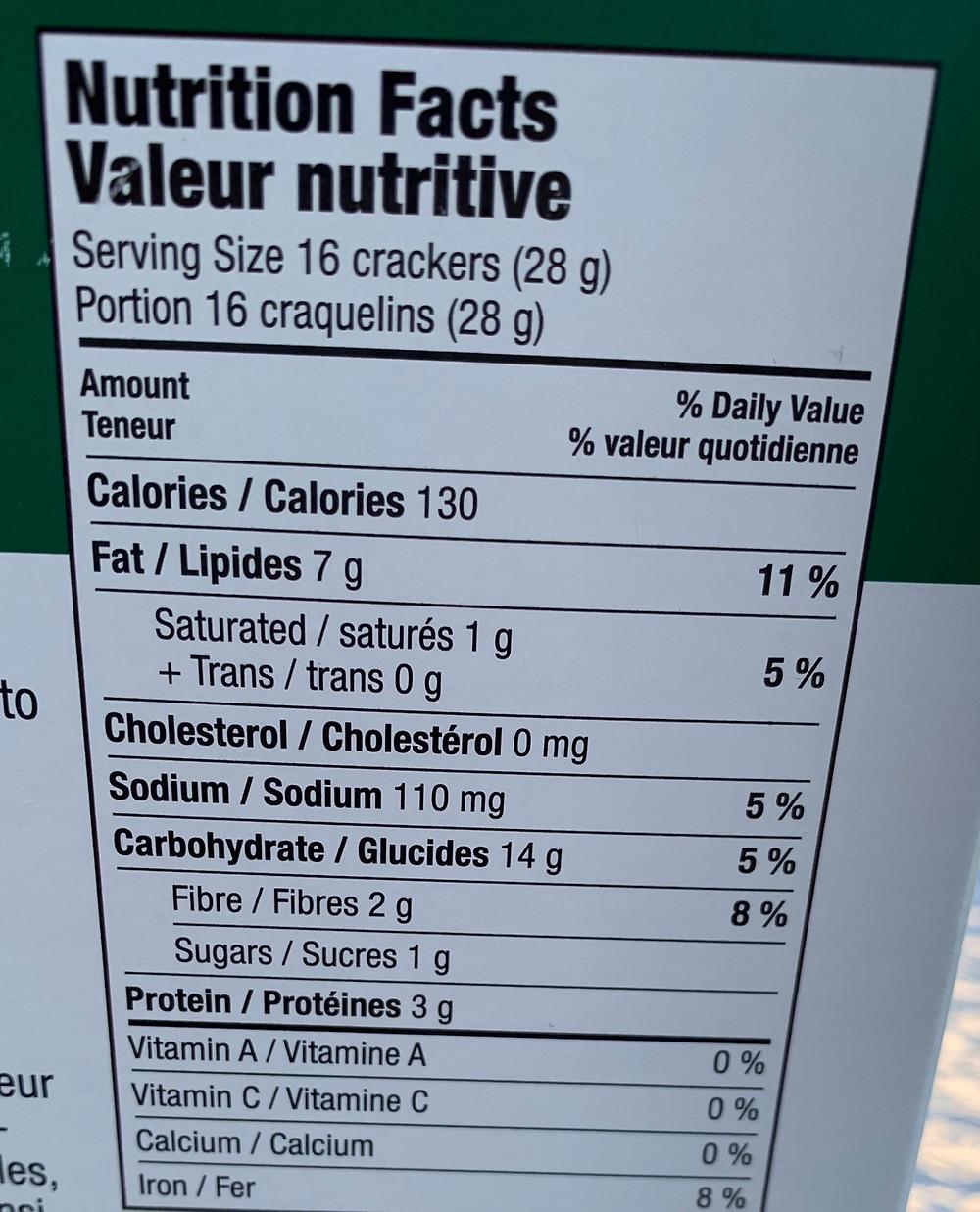 Costco RW Garcia Lentil with Tumeric Crackers Nutrition