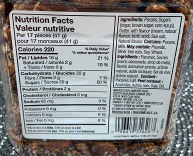 Costco Kirkland Signature Praline Pecans Nutrition
