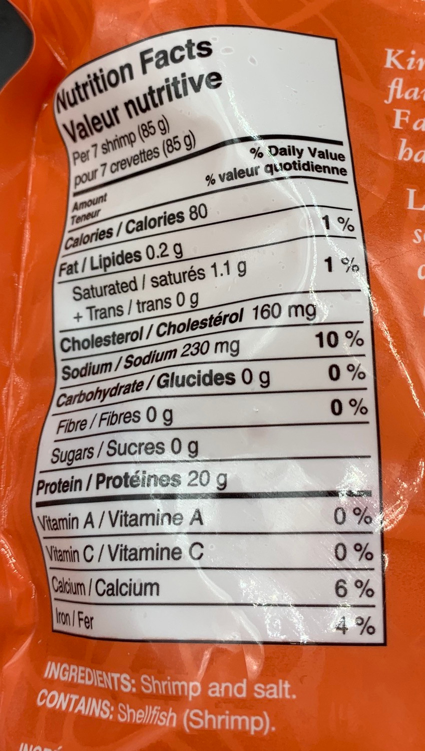 Costco Kirkland Signature Tail-On Cooked Shrimp Nutrition