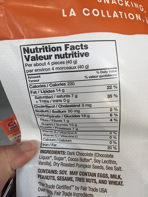 Costco barkTHINS Snacking Chocolate Nutrition