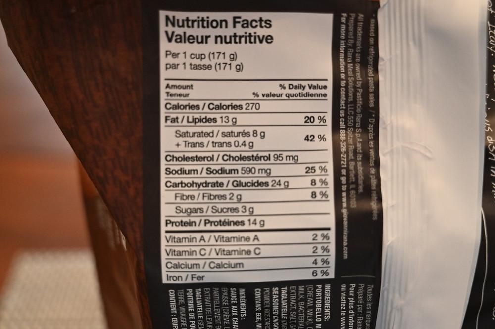 Costco Rana Tagliatelle Seasoned White Chicken & Mushroom Sauce nutrition information