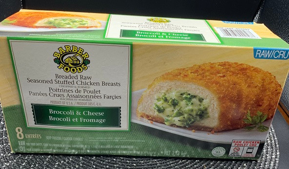 Costco Barber Foods Breaded Chicken Breasts with broccoli and cheese
