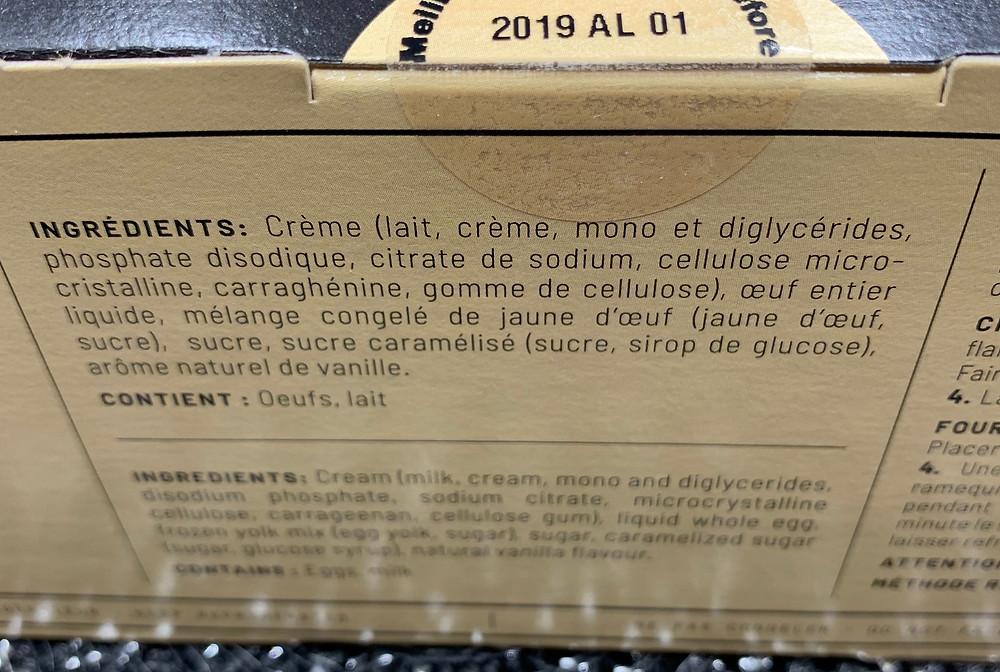 Costco Marie Morin Crème Brûlée Ingredients
