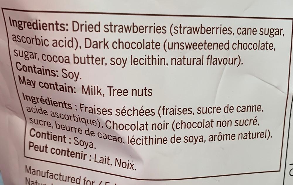 Costco Nature's Intent Dark Chocolate Strawberries Ingredients