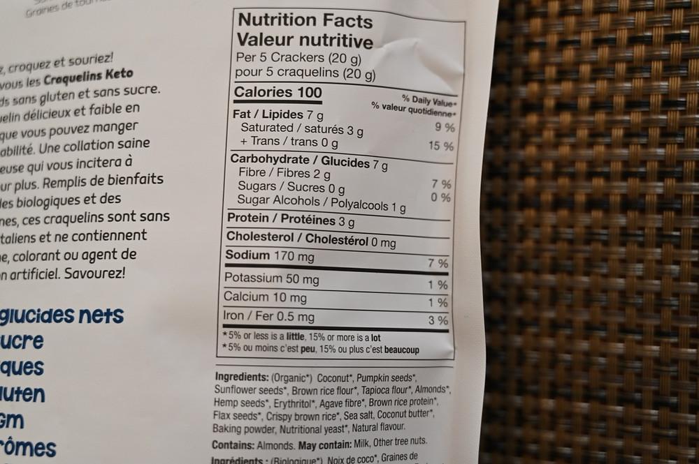 Costco Keto Crackers Nutrition