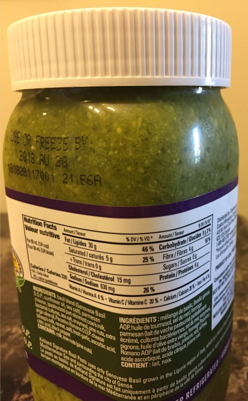Costco Kirkland Signature Basil Pesto Nutrition