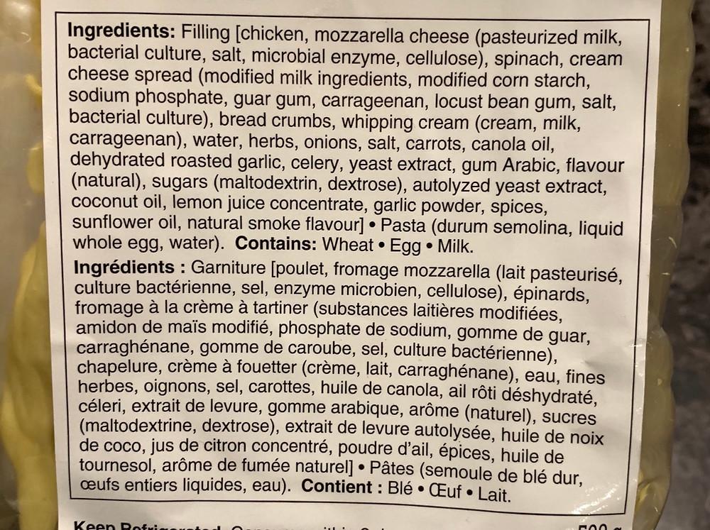 Duso's Jumbo Chicken & Mozzarella Ravioli Ingredients