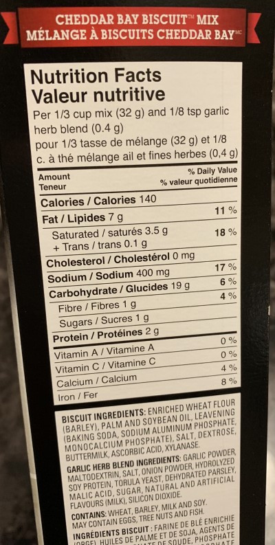 Costco Red Lobster Cheddar Bay Biscuit Mix Nutrition