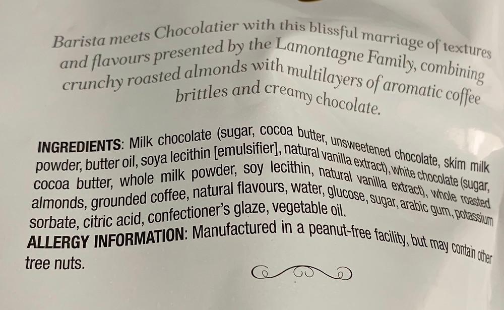 Costco Lamontagne Caffe Latte Almonds Ingredients