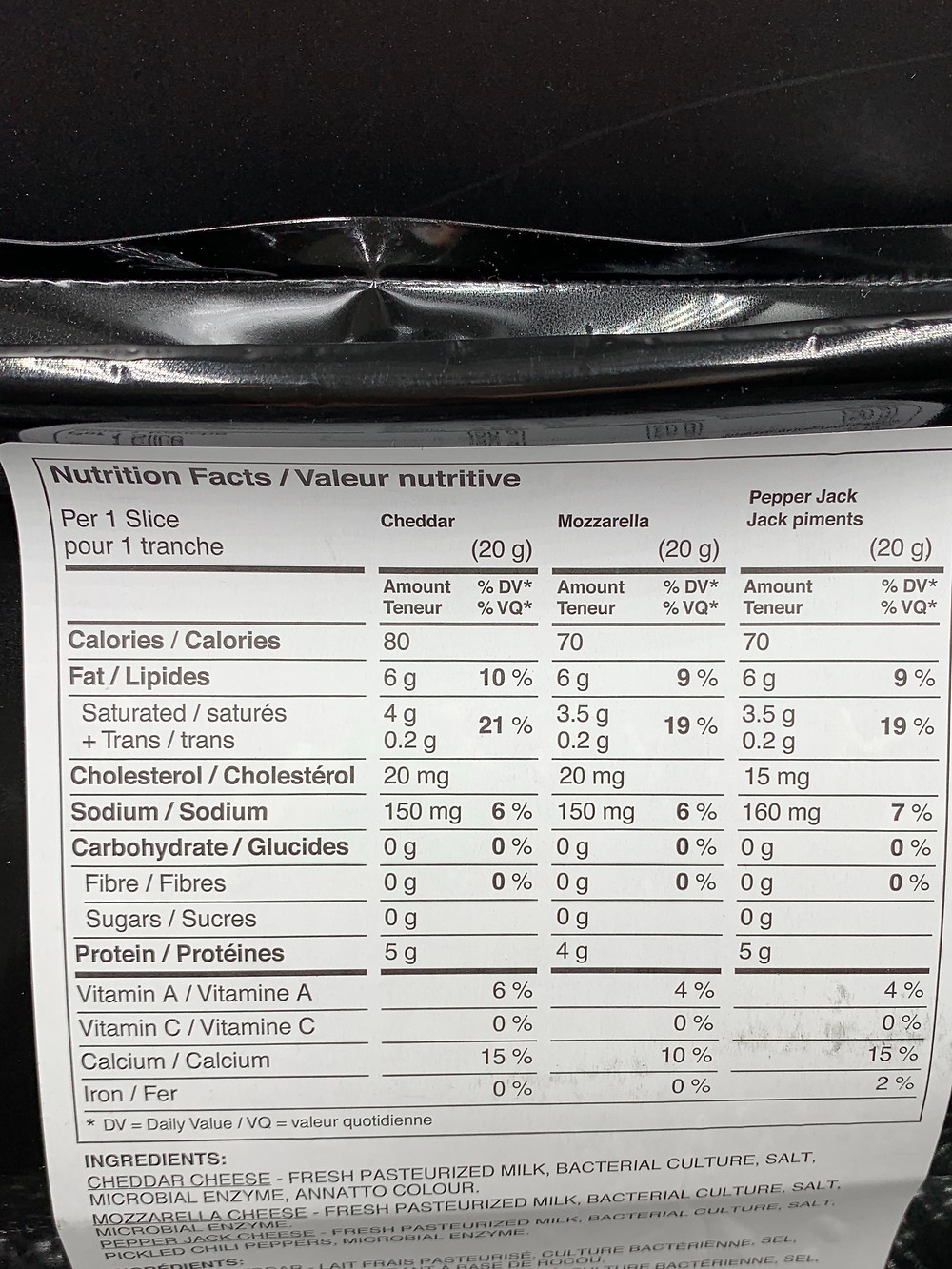 Costco Bothwell Cheese Variety Pack Nutrition