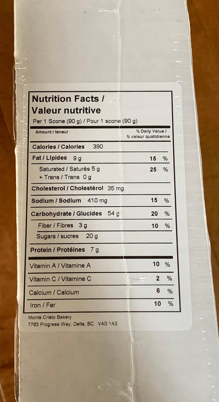Costco Monte Cristo Bakery Lemon Cranberry Scones Nutrition