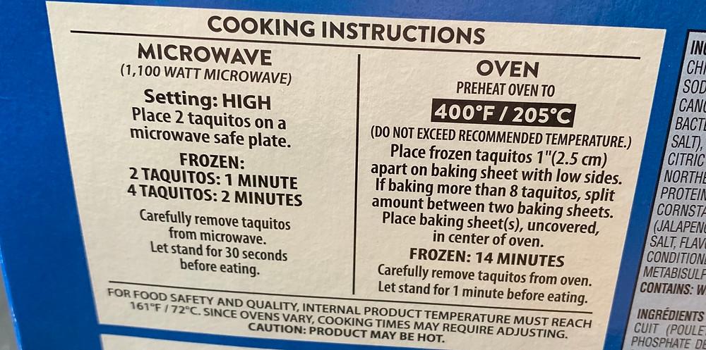 Costco El Monterey Chicken & Cheese Taquitos Cooking Instructions
