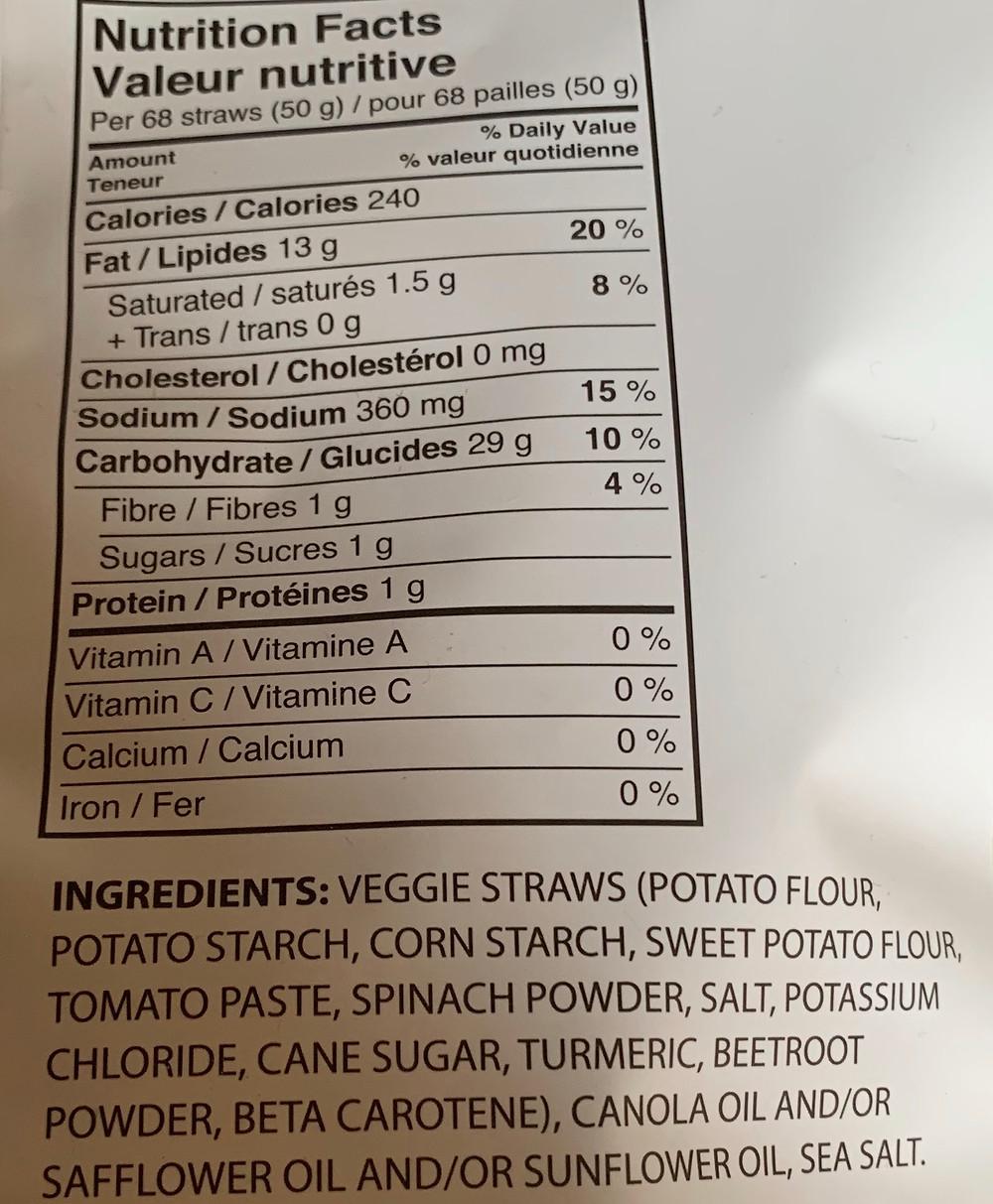 Costco Sensible Portions Garden Veggie Straws Nutrition