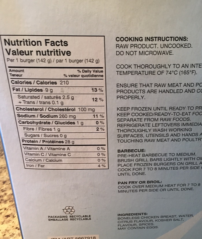 Costco Sunrise Farm Chicken Burgers Nutrition
