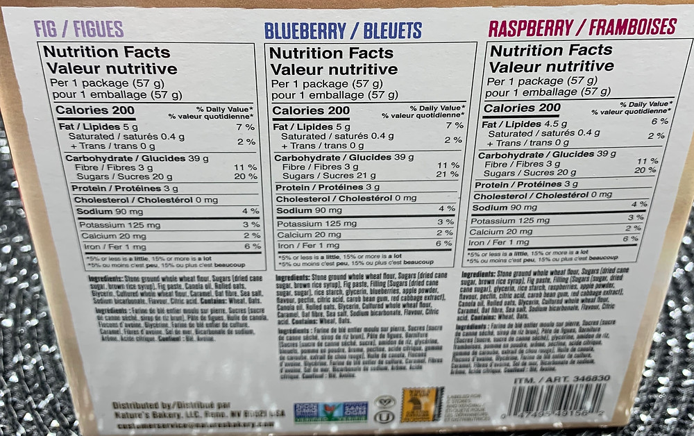 Costco Nature's Bakery Fig Bar Nutrition