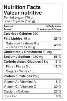 Costco Kirkland Signature Four Meat Pizza Nutrition