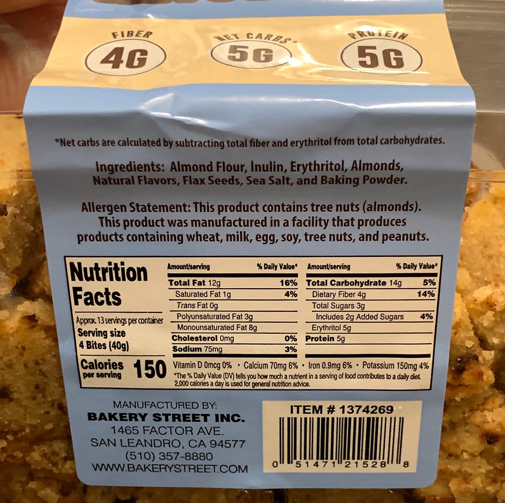 Costco Bakery Street Almond Keto Bites Nutrition
