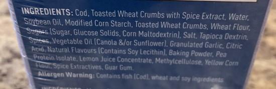 Costco AquaStar Smart Seafood Lemon & Cracked Pepper Wild Cod Ingredients