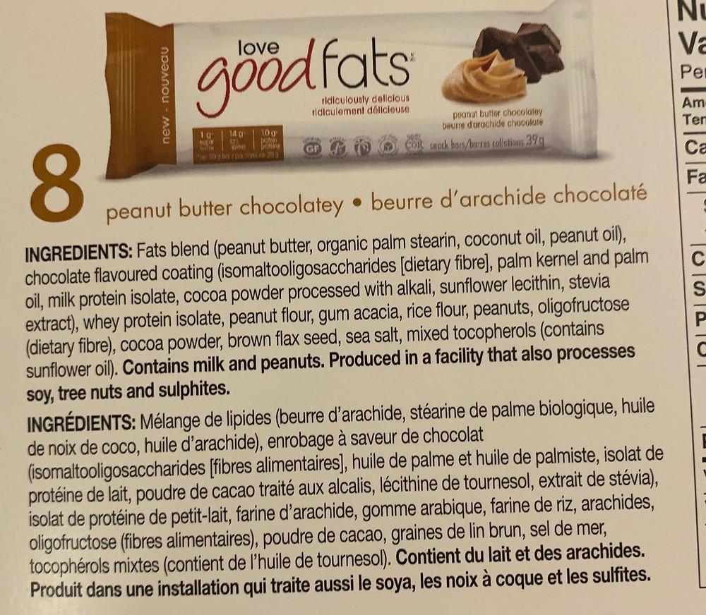 Costco love good fats Keto Snack Bars Peanut Butter Chocolatey Ingredients