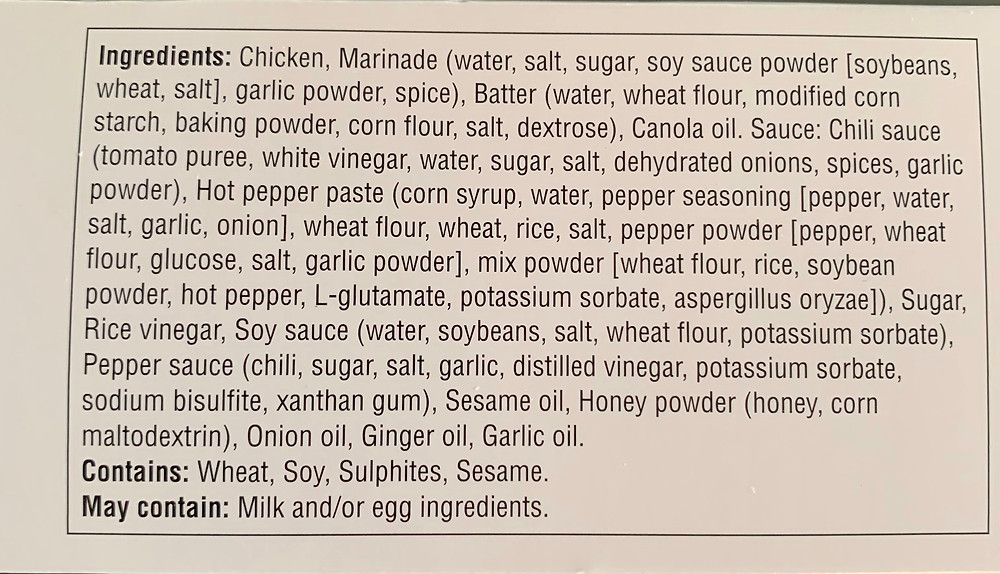 Costco Asian Inspirations Korean Style Fried Chicken Ingredients