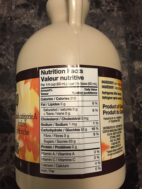 Kirkland Signature Maple Syrup from Costco Nutrition