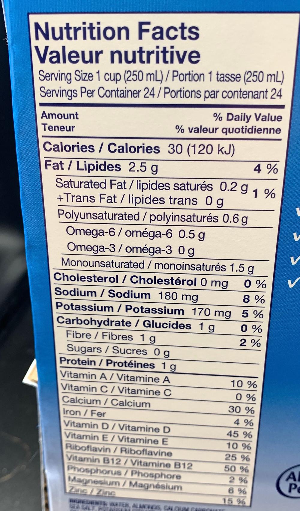 Costco Almond Breeze Unsweetened Original Nutrition