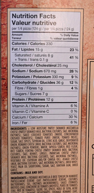 Costco Sabatasso's Pizza Nutrition Information