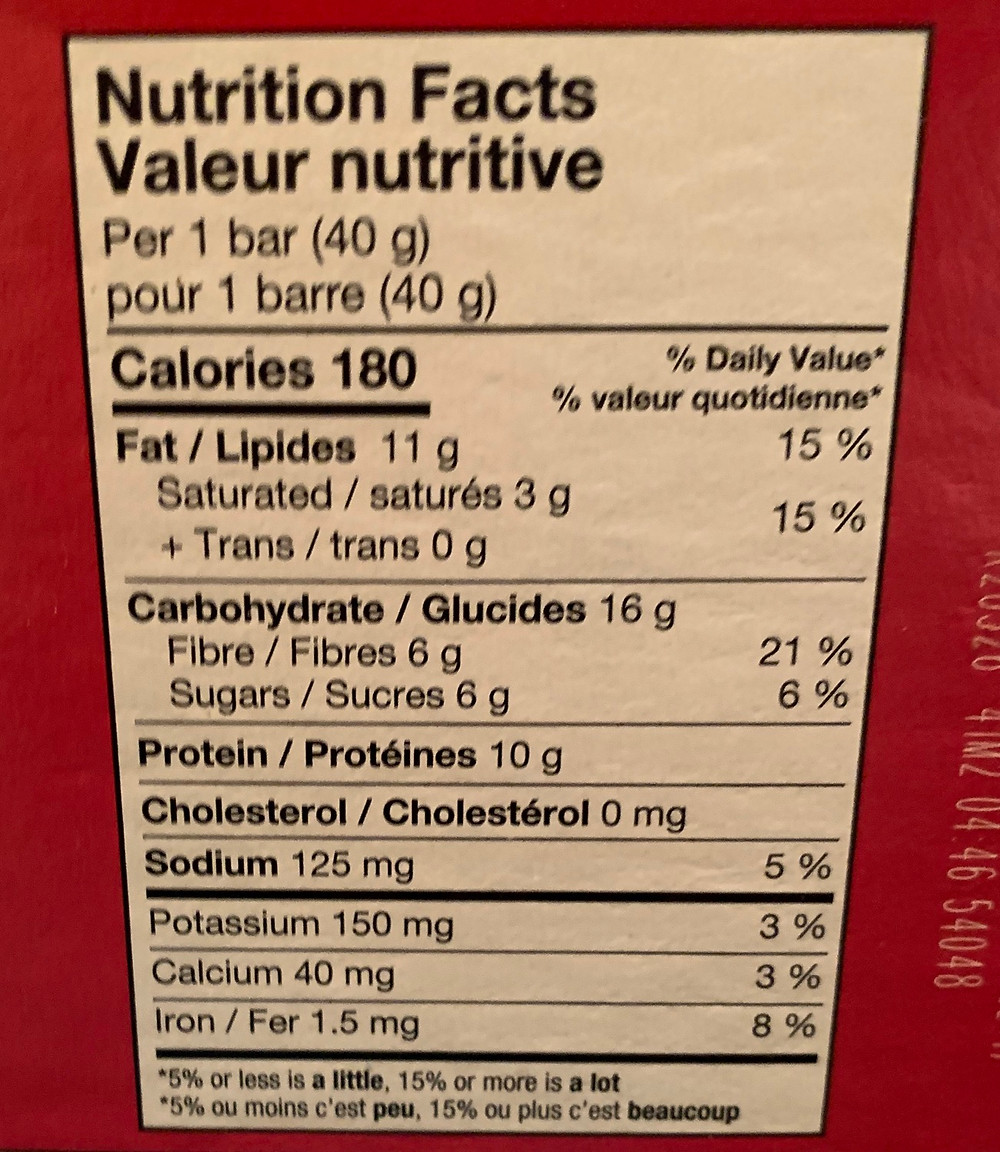 Costco Kirkland Signature Chewy Protein Bars Nutrition