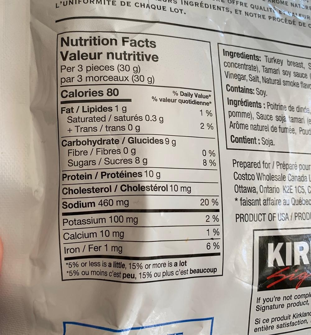Costco Kirkland Signature Turkey Jerky Nutrition