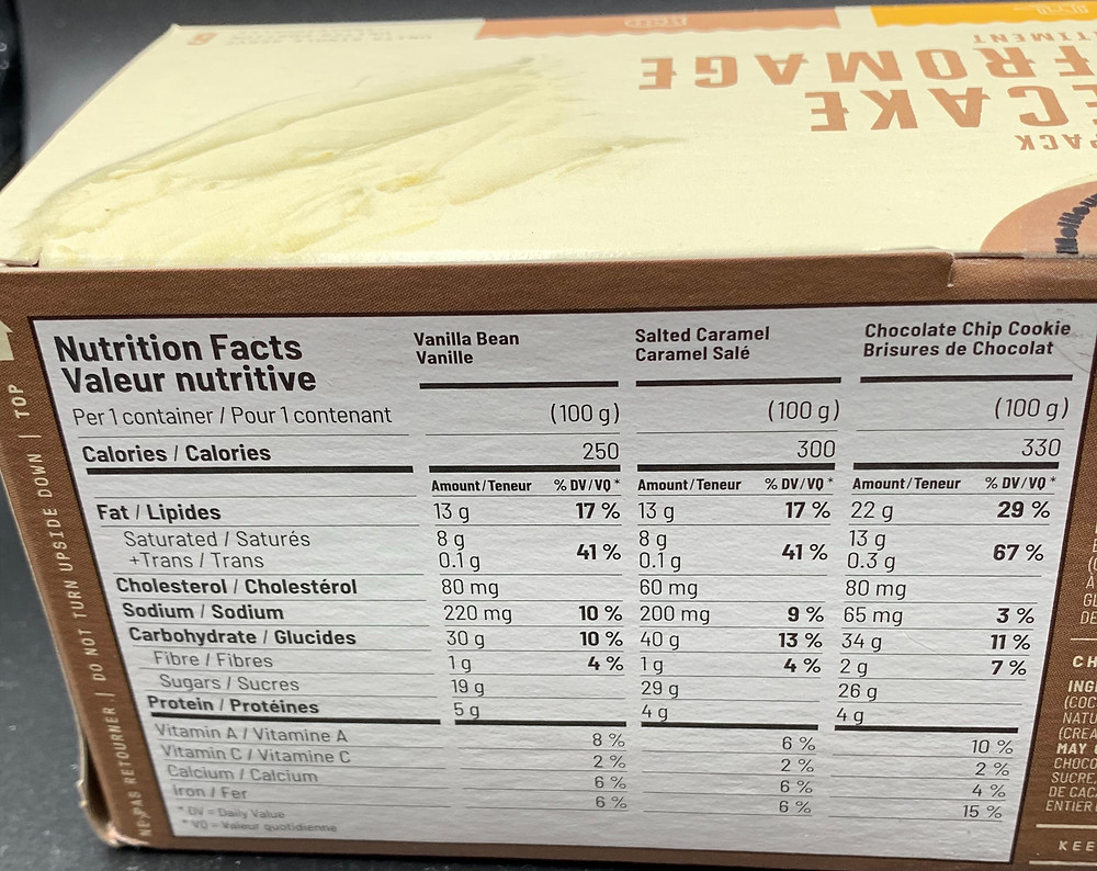 Costco Marie Morin Cheesecake Variety Pack Nutrition