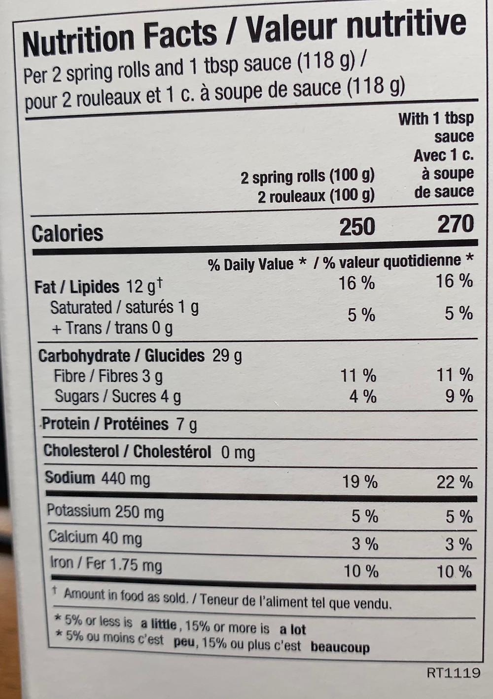 Costco Summ! Crispy Vegetable Spring Rolls Nutrition
