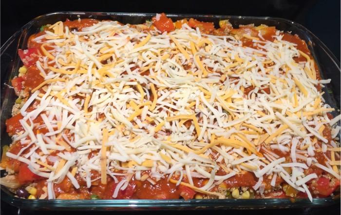 Mexican Quinoa Casserole Using Costco Ground Turkey, Quinoa and Tex Mex Shredded Cheese