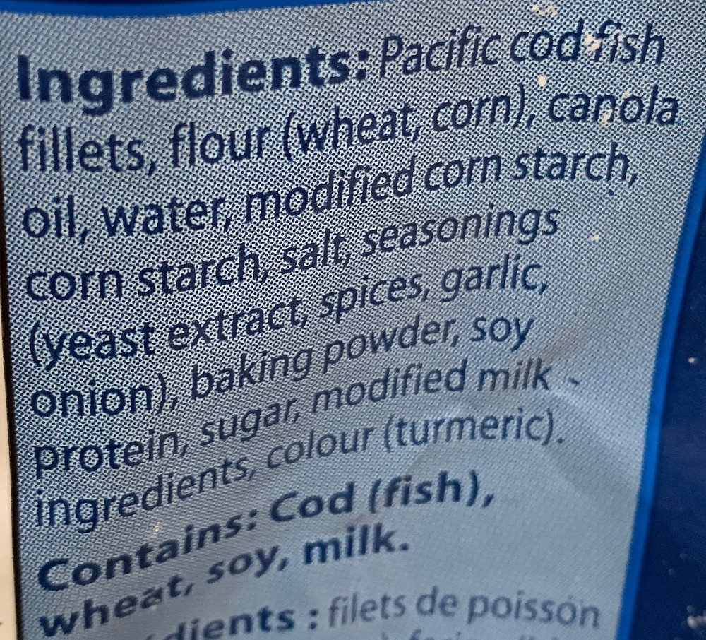 Costco High Liner English Style Battered Pacific Cod Ingredients