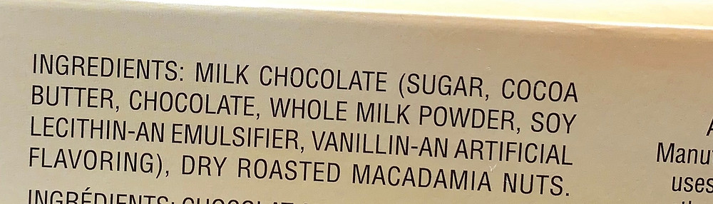Costco Hawaiian Sun Chocolate Covered Macadamia Nuts Ingredients