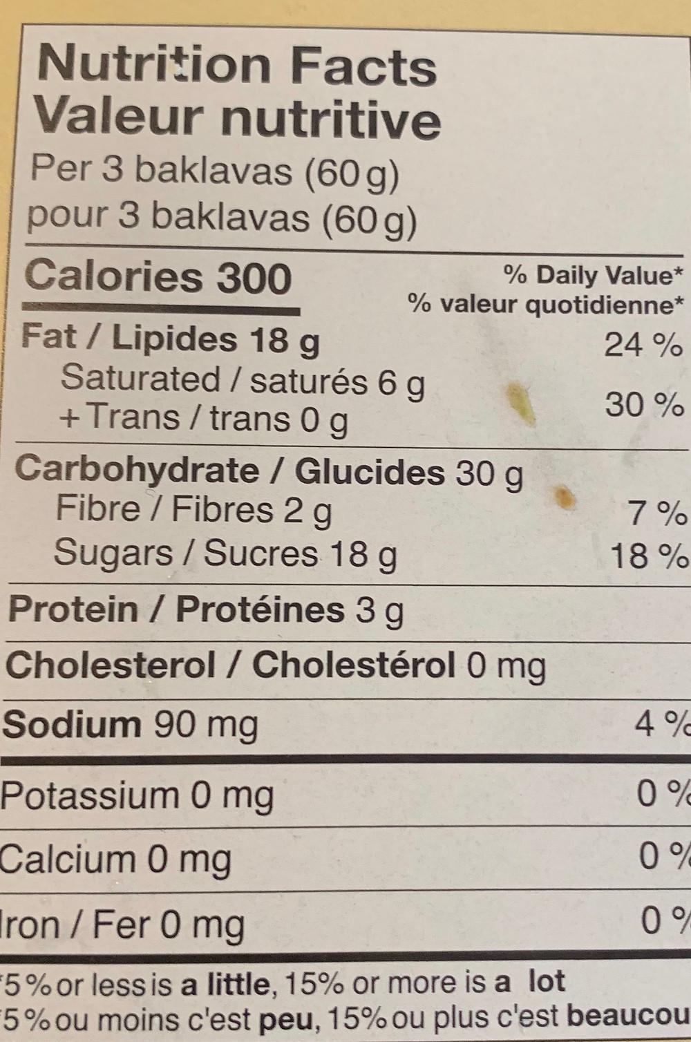 Costco Layla Baklava Nutrition