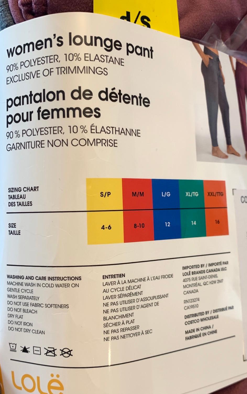 Costco Women's Lole Lounge Pants Sizing