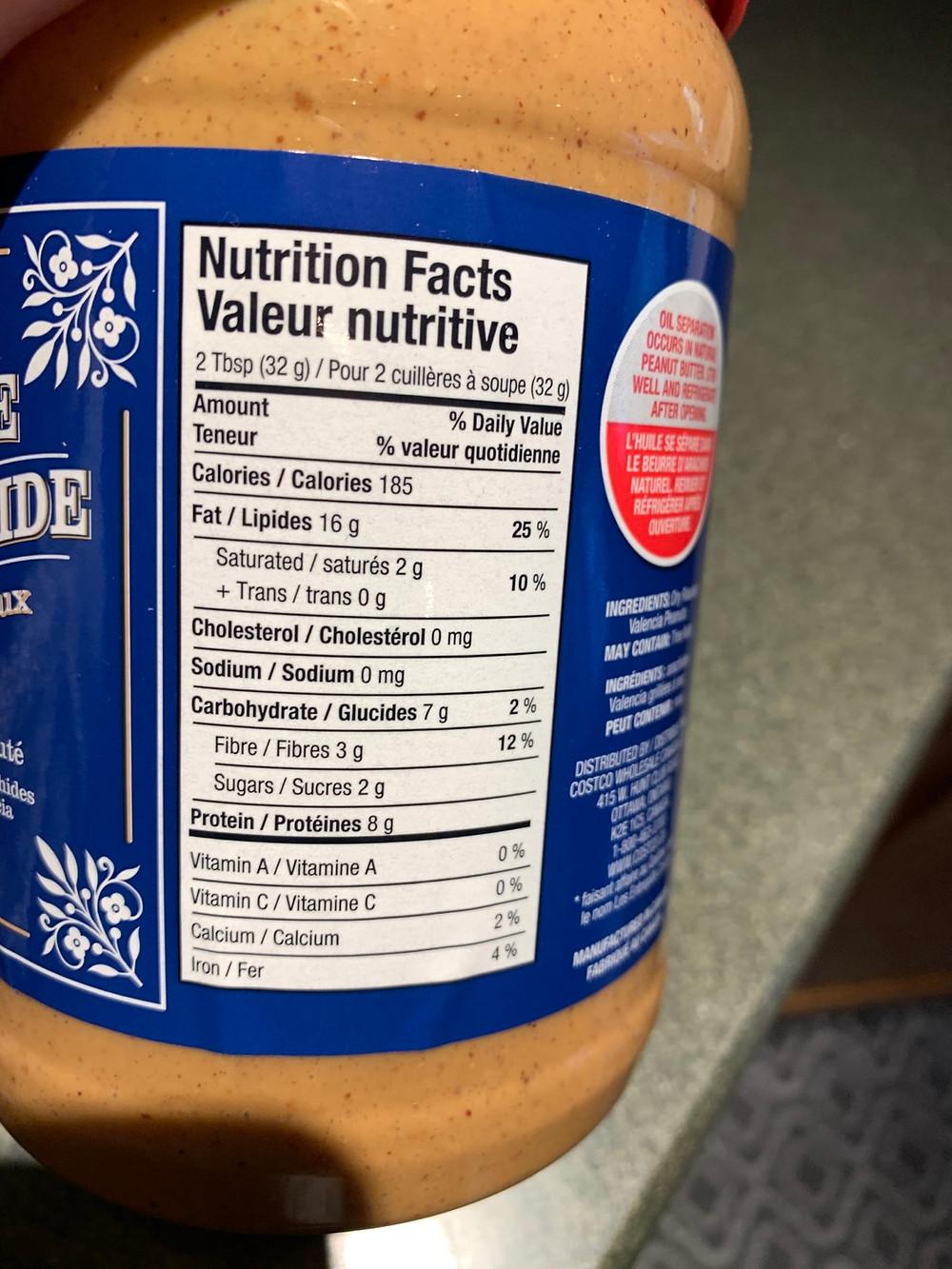 Costco Kirkland Signature Natural Peanut Butter Nutrition Information