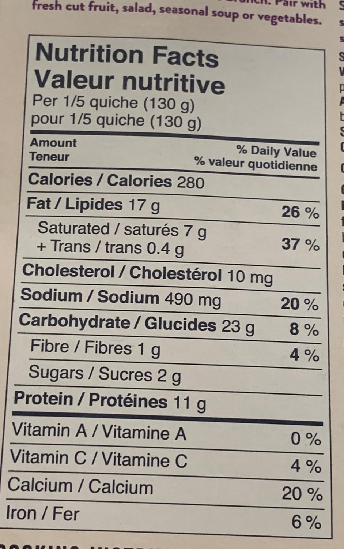 Spinach & Artichoke Quiche Nutrition