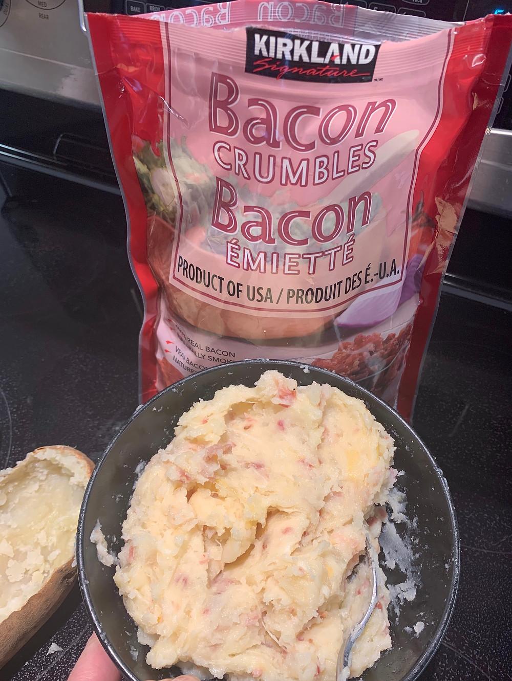 Double Stuffed Potato Recipe Using Costco Bacon Crumbles + Tex Mex