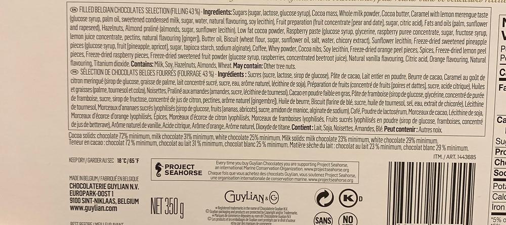 Costco Guylian Beligan Masters Selection Ingredients