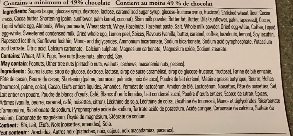Costco Kirkland Signature European Cookies Ingredients