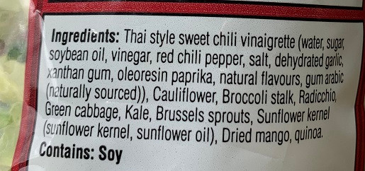 Costco Taylor Farms Thai Style Chili Mango Salad Kit Ingredients
