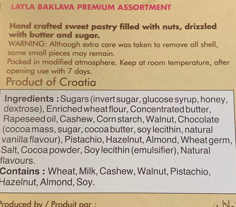Costco Layla Baklava Ingredients