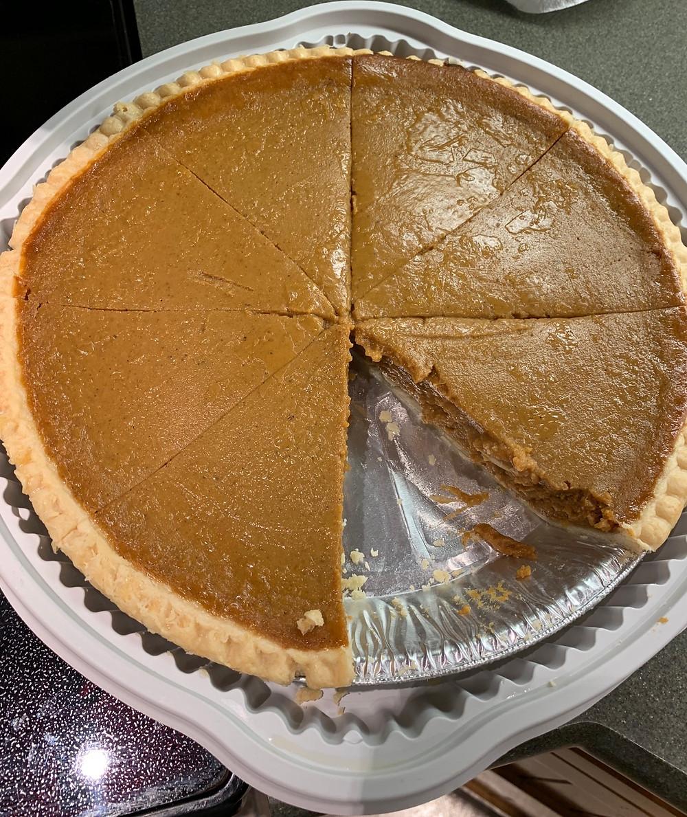 Costco Pumpkin Pie Sliced