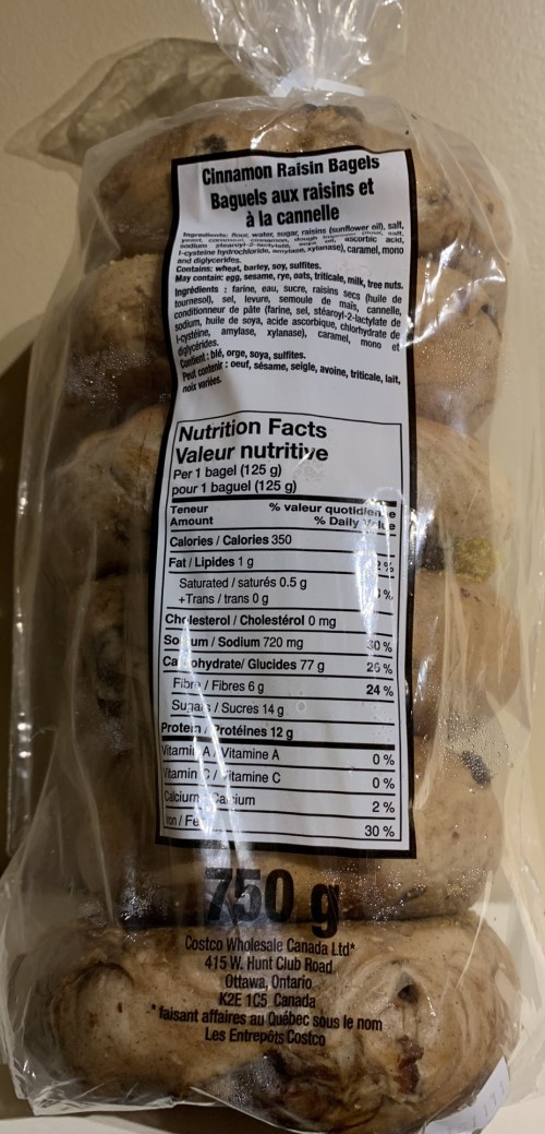 Costco Kirkland Signature Cinnamon Raisin Bagel